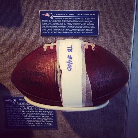 The ball Tom Brady threw for his 400th career touchdown pass is now on display at The Hall at Patriot Place presented by Raytheon.