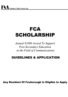 2016 FCA Scholarship Application