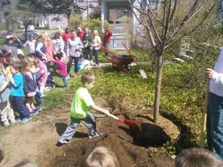 First Church Preschool tree planting 2