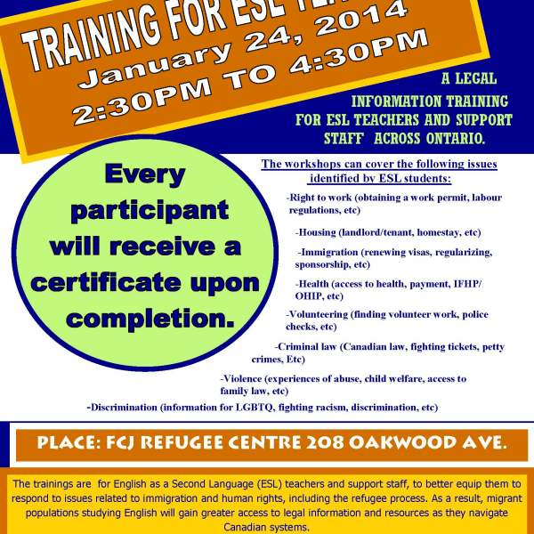 ESL TEACHERS TRAININGS January 24 2014