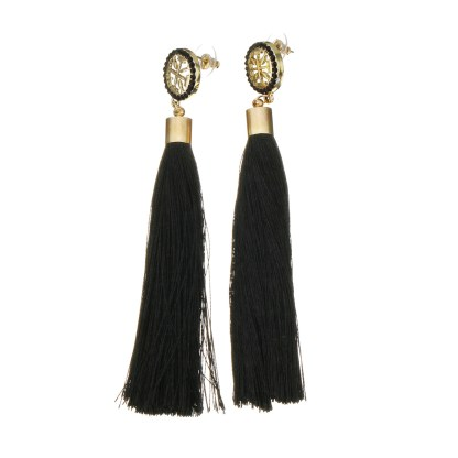 Fashion Cotton Cord Earrings - Black