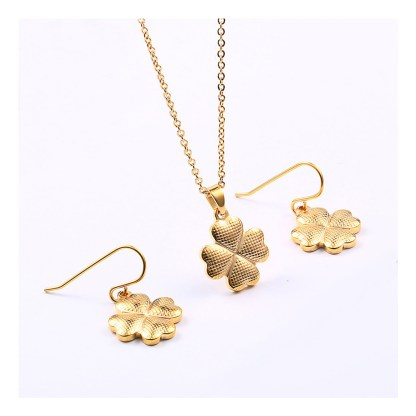 Four Leaf Clover Jewerly Set - Gold