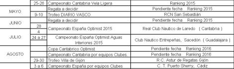 Calendario para regata de ranking clase optimist 2015