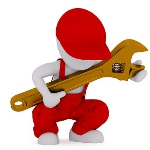 Icon of a boy holding an adjustable wrench