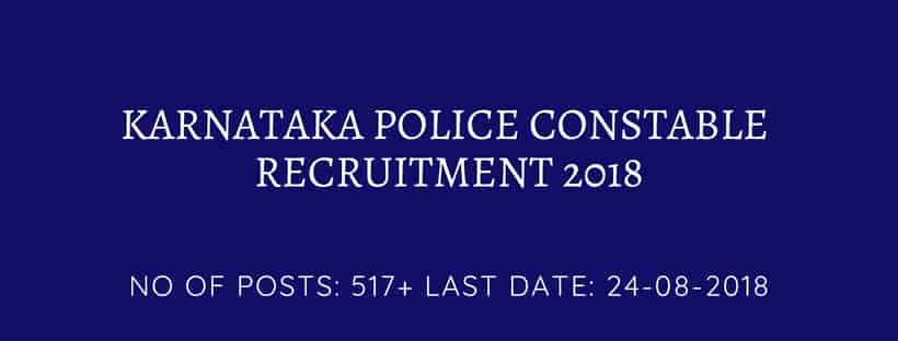 Karnataka state police recruitment 2018