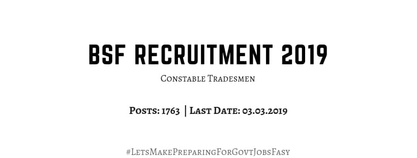 BSF Constable Tradesmen 2019