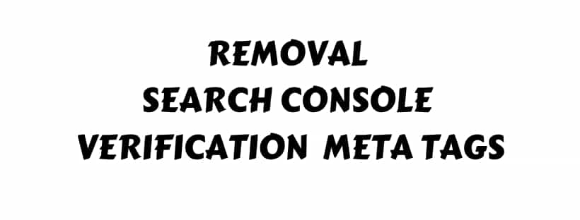 Remove Verification Meta Tags Header