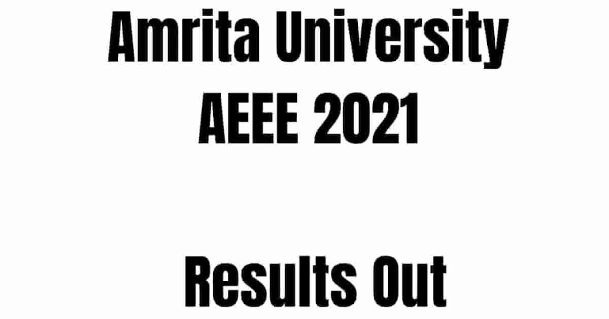Amrita University AEEE 2021 Results Out