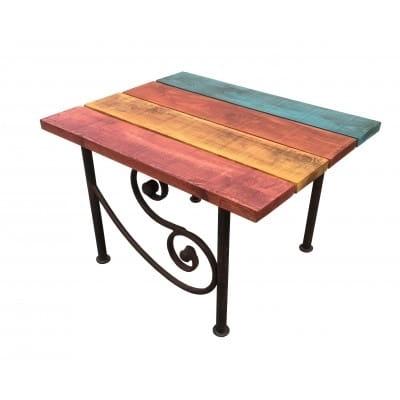 set de jardin table basse fer et bois teinte multicolore