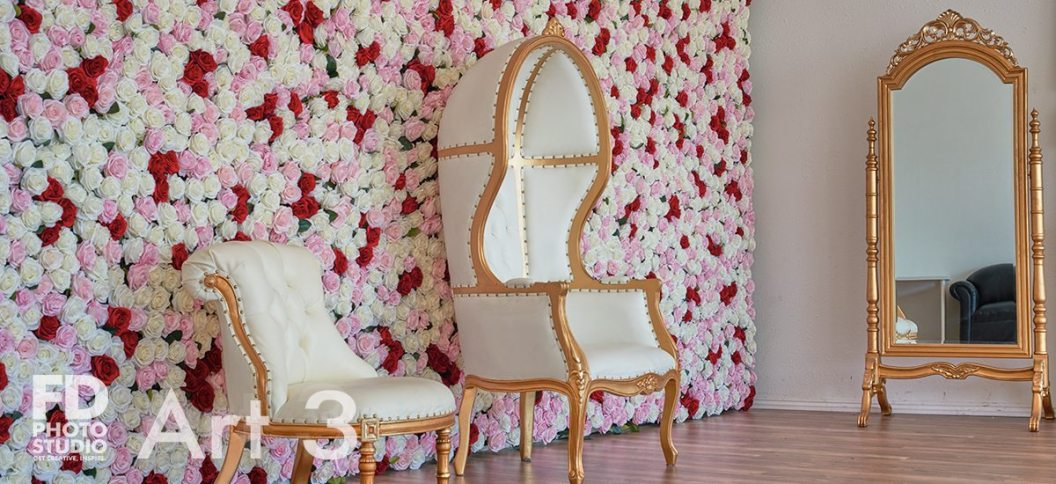 Art 3 comes with 10'x15' rose wall, gold&white furniture. Floors are laminated and there are sheer curtains on both windows.