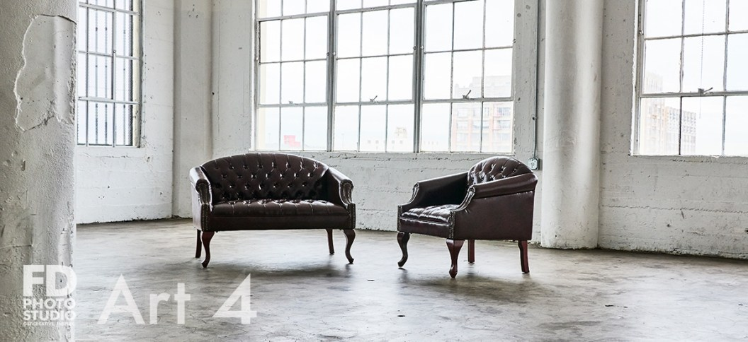 red furniture set in a natural light studio