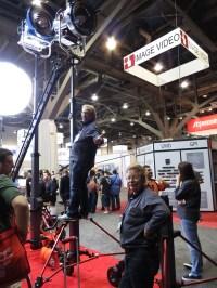 Matthews' Ed Phillips atop the Skycraper super stand