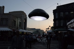 New Airstarfilm Space Invader helium-filled balloon light tethered above Cine Gear Magic Hour sky