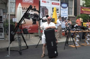 Steve Manios, Jr of Manios Digital and Film with new Cartoni JIBO, a lightweight jib arm that fits into its own case and is good for cameras up to 33 lbs.