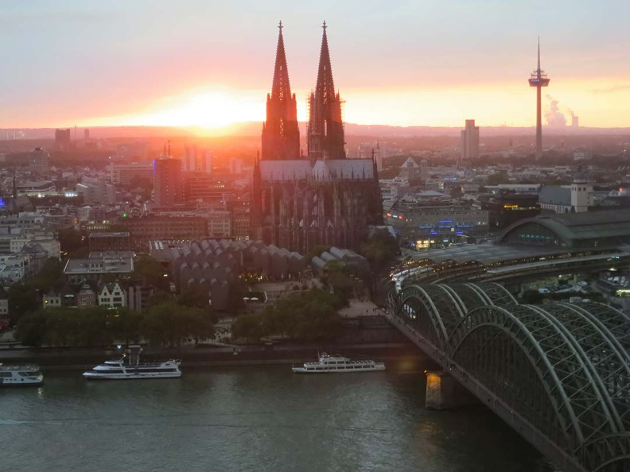 Sunset over Cologne Cathedral. View from KolnSKY