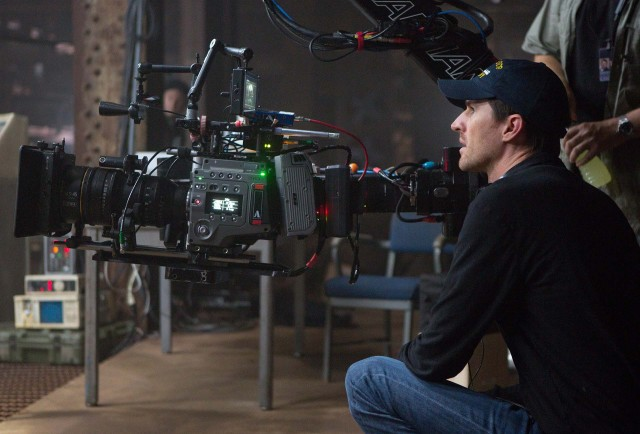 "Director Joe Kosinski with F65 on set of ""Oblivion."" Photo © David James, Universal  Pictures"