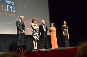 L-R: Jean-Marc Barr, Kristin-Scott Thomas, John Boorman, Victoria Abril, Carmen Chaplin