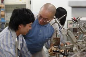 Student and teacher -- polishing class