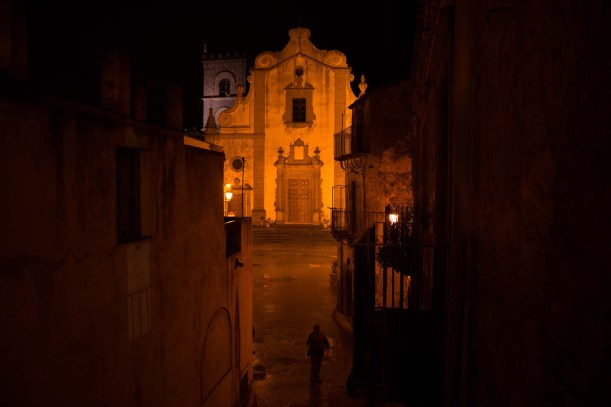 the church of SS Annunziata (location from the Godfather part I) at night, Forza d'Agrò