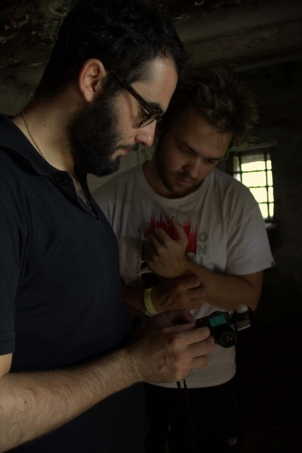 Cinematography supervisor Gianni Chiarini on set with student cinematographer Kanter Constandse (NARAFI-LUCA)