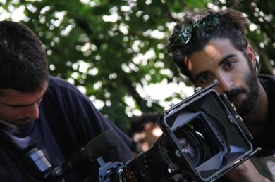 Student cinematographers Federico Spiazzi and Andrea J. Di Pasquale (Centro Sperimentale di Cinematografia) during the shoot in Savoca.
