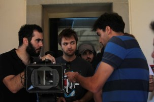 Guest cinematographer Krum Rodriguez (BAC) discussing an exercise with Cinematography supervisor Gianni Chiarini and student cinematographer Kanter Constandse