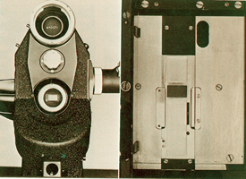 Eclair NPR with lens removed, showing widened Super 16mm gate. Notice how the lens mount has been shifted 1 mm so the optical axis of lens is centered on the gate.