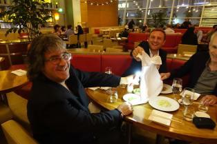 Danys Bruyere (TSF), Ben Steele (EMIT) and Howard Preston demonstrating the FDTimes restaurant lighting kit.