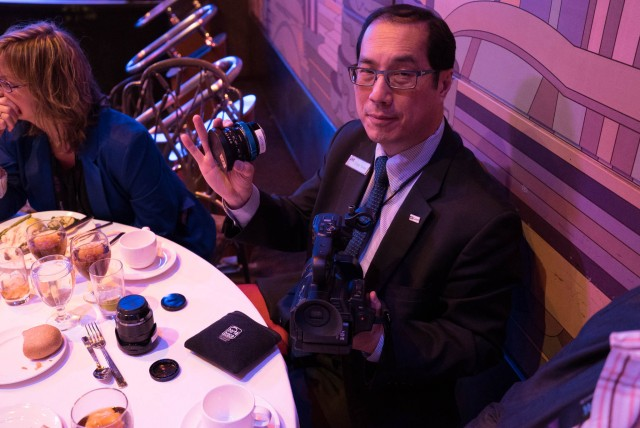 Craig Yanagi holding the JVC 4K Cam at the JVC Luncheon at NAB 2015