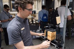 Ryan Schorman w/ Alexa Mini Wooden Camera accessories. Photo: Forman