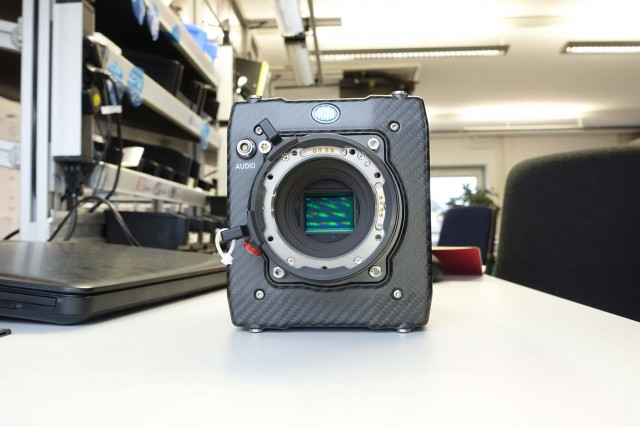 Assembled camera with sensor, seen from the front.