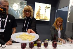 Hors D'oevres at the Aaton/Transvideo booth, with Sveta Delacoux