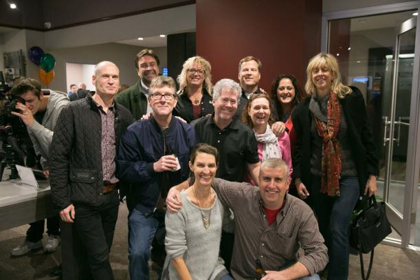 AbelCine Account Manager Kari Hess poses Tom Fletcher along with other friends and colleagues.
