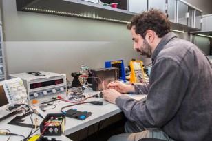Jesse Rosen testing connections. Photo: Zohar Lindenbaum.