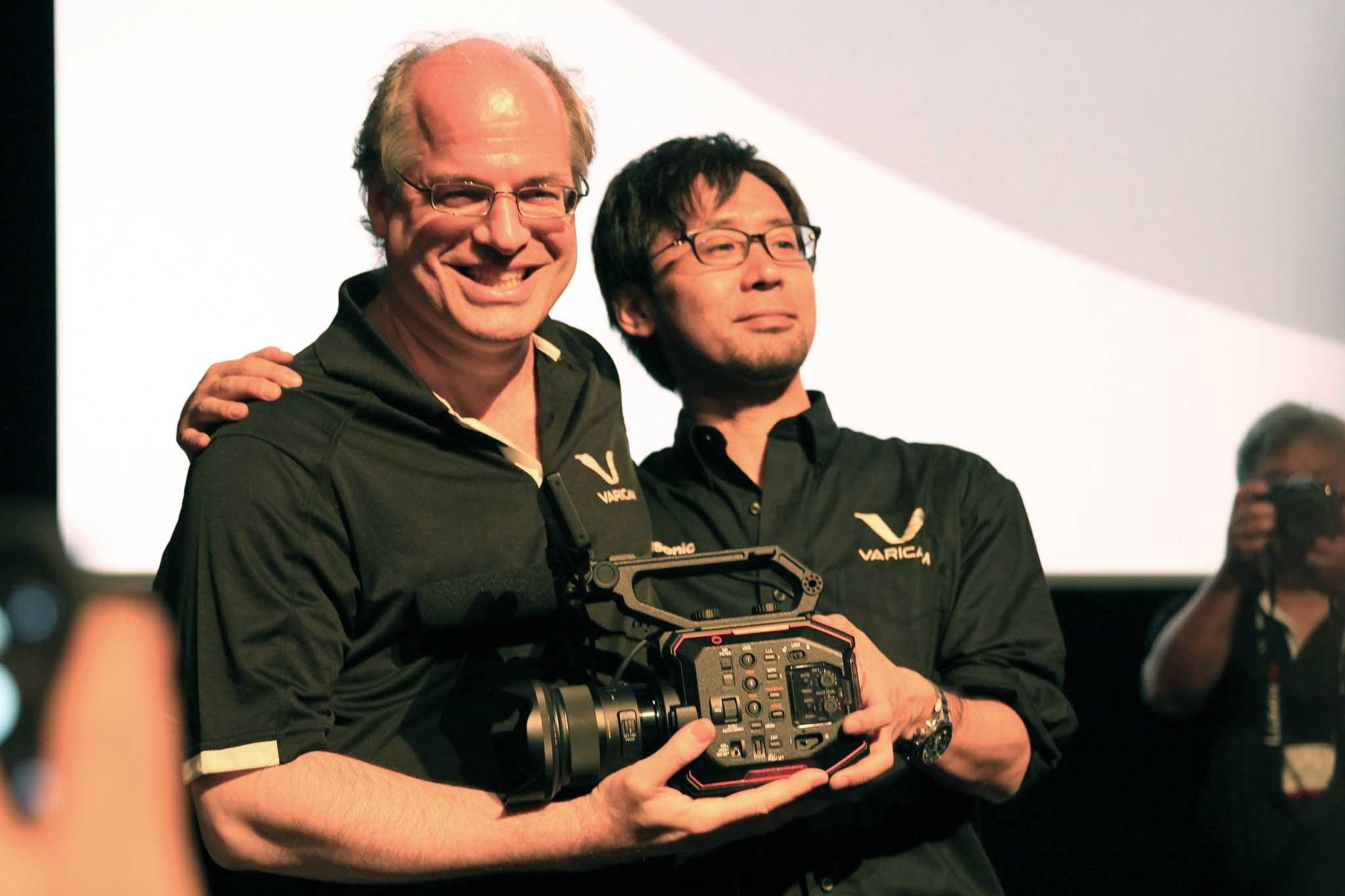 Takahiro Mitsui, Team Leader of VariCam Engineering and Mitch Gross, Cinema Product Manager at Cine Gear unveiling
