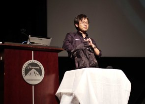 Revealed at Cine Gear. Takahiro Mitsui pulled the EVA1 out of his backpack.