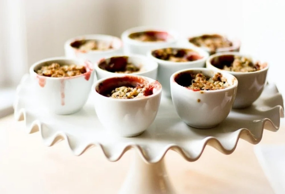 Mini Pear and Berry Crumbles with Nigella Seeds