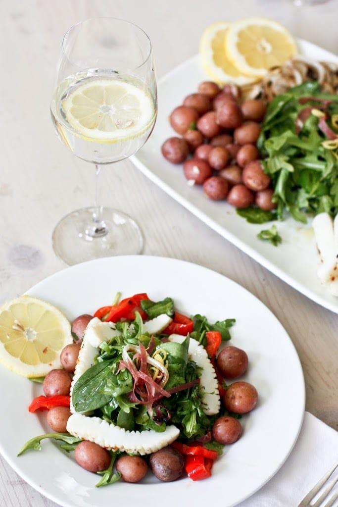Grilled Calamari Salad with Arugula and Preserved Lemon Vinaigrette