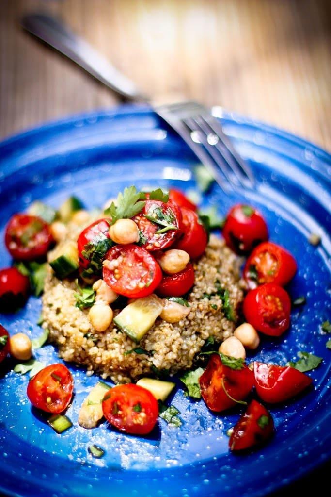 Hearty Quinoa Cakes with Chickpea -Tomato Relish