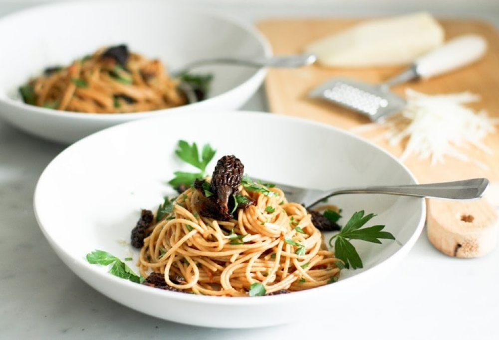 Spaghetti with Wild Mushrooms and Miso Brown Butter Sauce