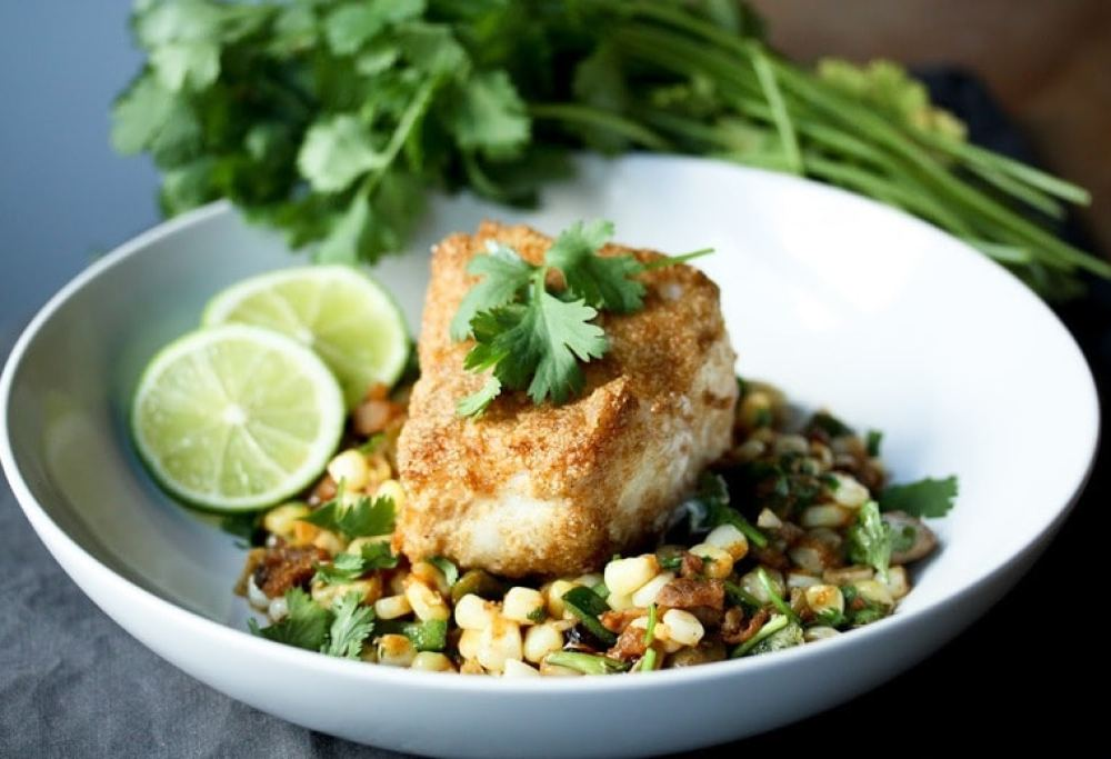 Cornmeal Crusted Fish with Summer Succotash