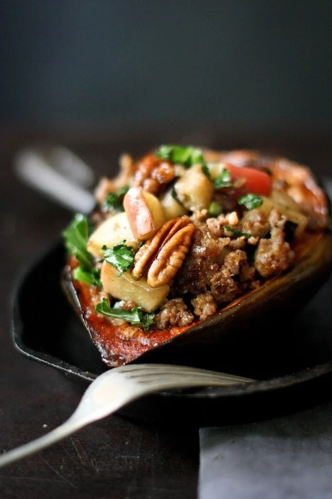 Stuffed Acorn Squash with Apple, Parsnip and Sage