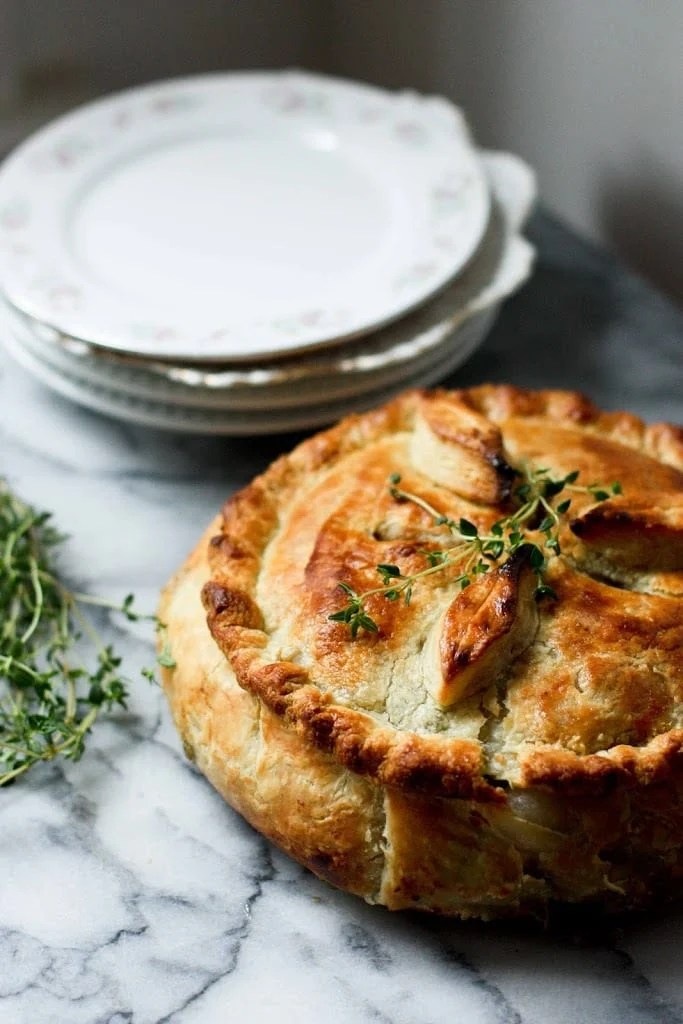 A vegan Spring Vegetable Pot Pie. Easy and adaptable | www.feastingathome.com