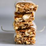 """A simple tasty recipe for Coconut Almond Bars, similar to """"Kind Bars"""". Gluten Free, sugar free, sweetened with honey.   www.feastingathome.com"""