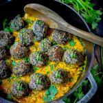 Lentil Meatballs with Indian Fenugreek Sauce   www.feastingathome.com