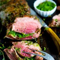 Herb Stuffed Leg of Lamb with Mint Gremolata