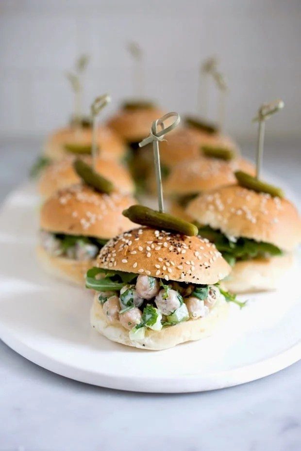 Vegan Chickpea Salad Sliders with herbs, capers and Arugula