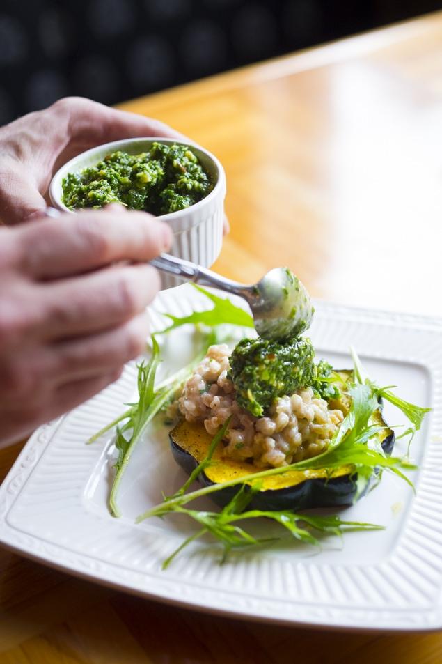 Acorn Squash w/ Farro Risotto and Radish Top Pesto