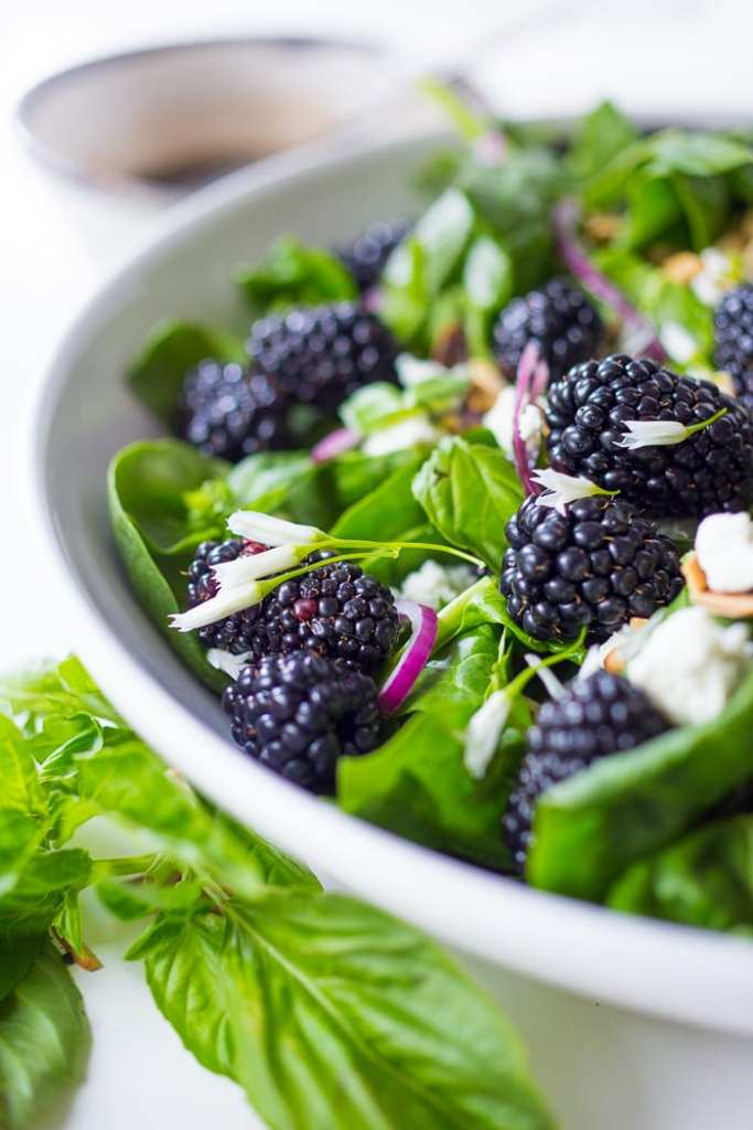 A refreshing Blackberry, Spinach and Basil Salad with crumbled goat cheese, and toasted almonds with a simple balsamic vinaigrette. GF | www.feastingathome.com