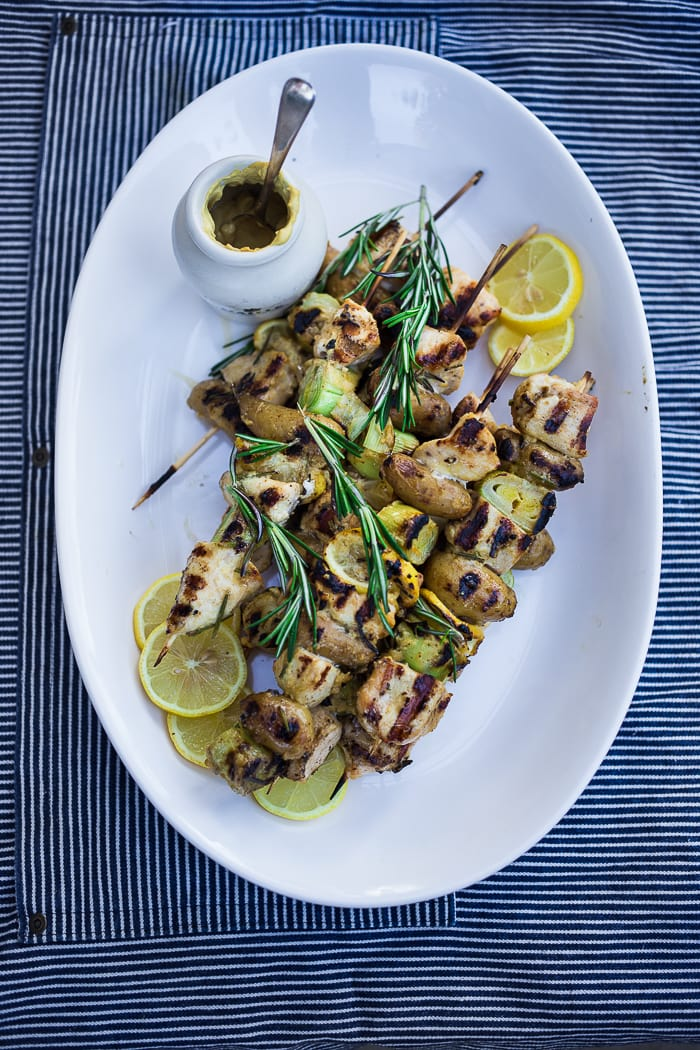 Grilled Dijon Chicken Skewers w/ Leeks and Potatoes